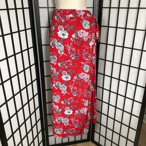 Japna (Boutique Brand) Red Floral Long Maxi Skirt